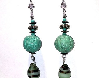 Carved Chinese Turquoise Earrings