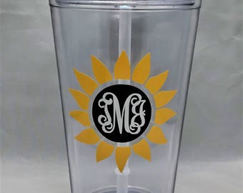 16oz Personalized Acrylic Tumbler with Straw - Sunflower Monogram - For Her - Bridesmaid - Birthday - Christmas - Monogrammed Tumbler - Gift