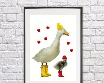 Cute geese, nursery print, animal print, kids bedroom, nursery art, giclee print, baby gift, wall art, birthday gift, cute animal print