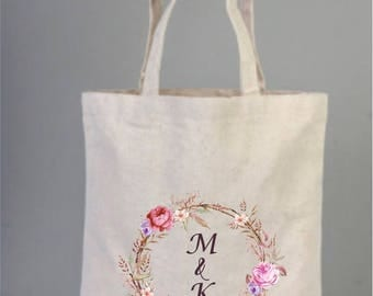 Bridal Bags, Bride Bag, Bridal Tote Bags, Bridesmaid Bag, Bridal Gifts, Canvas Tote, Cotton Bag, Tote Bag, Wreath Bag, Bridal Shower Gifts