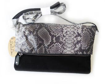 ByLouLou clutch perfect Python grey