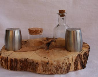 Salt & Oil holder made of  solid Oak Wood