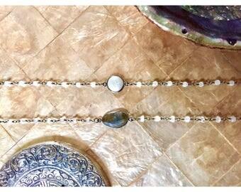 GABRIELLE Rosary Choker || Freshwater Pearl || Labradorite || Moonstone || Gunmetal