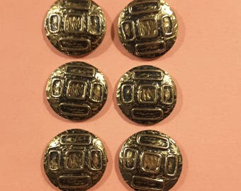 Vintage set of six 1950's metal buttons.