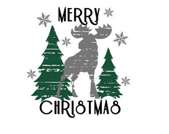 Merry Christmas Moose Distressed SVG/PNG/DXF