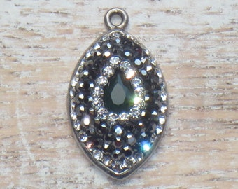Pave Cz Crystals with Green Garnet Gemstone Sterling Silver Charm Pave Sterling Charm