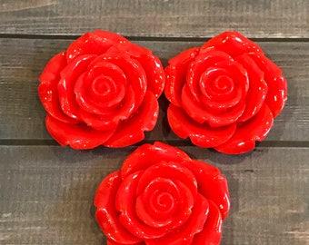 Flower Pendant, Chunky Bead Pendant, Red Flower Pendant