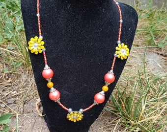 "21"" Handmade Summer/Spring Flower Coral and Orange with Silver accents beaded Necklace"