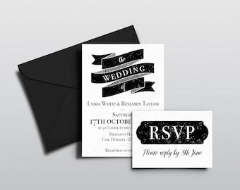 Classic Modern Rustic Wedding Invitations & RSVPs