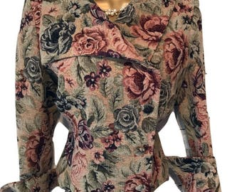 Beautiful Vintage Floral Tapestry Jacket UK Size 12