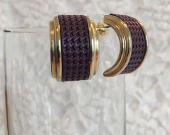 Weekenders Butterfly Mark (Not Bek) Eggplant Houndstooth Faux Leather Gold Tone Hoop Vintage Pierced Earrings