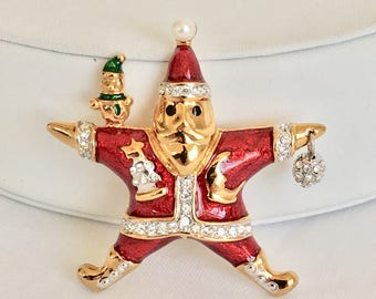 Kenneth Jay Lane Christmas Pin Santa Claus Holiday Pin, Jewels of Christmas Pin Collection, Franklin Mint, Christmas Brooch