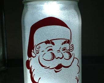 Glitter, illuminated - Santa - Mason jar