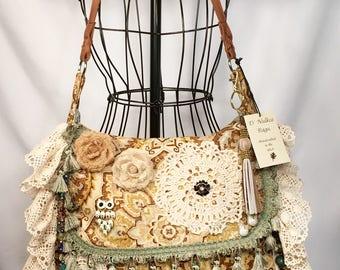 Boho Fringe Fabric Aqua Embellished Messenger Bag Handbag Hobo Hippie Gypsy Vintage Fashion Crossbody Tote