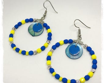 Silver hoop earrings cobalt blue and yellow Canary