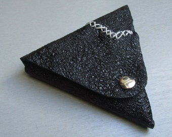 triangle black leather wallet