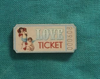 Love Ticket Wooden Needle Minder