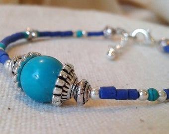 Bracelet Turquoise ethnic Lapis Lazuli