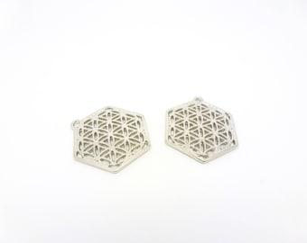 2 pendants in geometric hexagonal shape openwork flowers 29 * 25mm silver matte (8SBA47)
