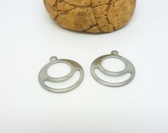 2 Recessed round charms 16mm stainless steel (USAI15)