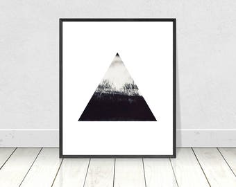 Minimalist Art Print, Scandinavian Print, Black & White, PRINTABLE Art, Triangle, Geometric Print, Scandinavian Poster, Home Decor, Wall Art