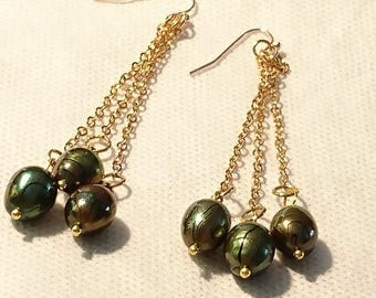 """EARRINGS """"Costa Rica"""" beads green keshi bronze and gold plated findings"""