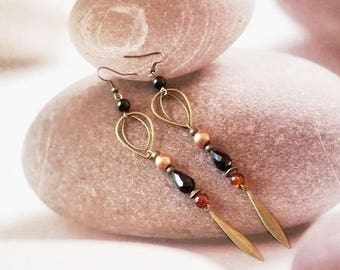 Earrings drop Brown and black