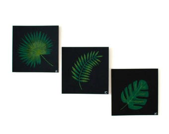 Set of 3 illustrations decoration leaf palm jungle nature paper square black 13,5 x 13,5 cm HANDMADE