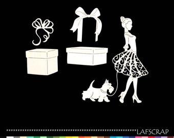 scrapbooking woman dress dog animal character cutouts Scrapbook die cuts embellishment ribbon bow gift box