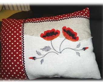 Rectangle cushion and embroidered poppies