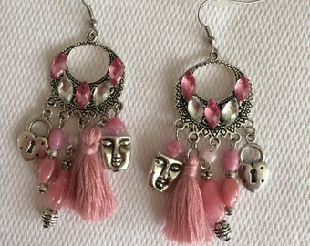 pierced with Rhinestones and pink beads earrings