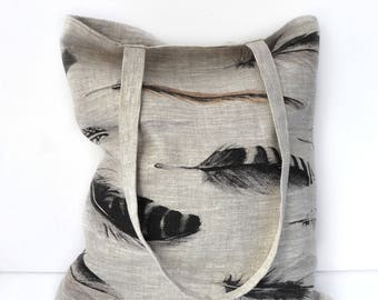 Bag, tote bag in natural linen printed feathers