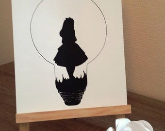"""Poster Illustration black and white bulb """"alice in Wonderland country"""""""