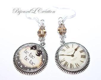 Mismatched EARRINGS time tic tac cabochon