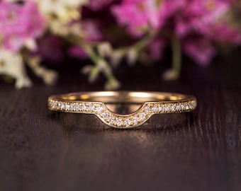 Customized Wedding Band Women Diamond Antique Matching Ring Curved Yellow Gold Half Halo Eternity Retro Stacking Anniversary Promise Engrave