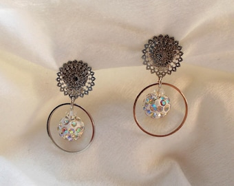 rhinestone clip earrings