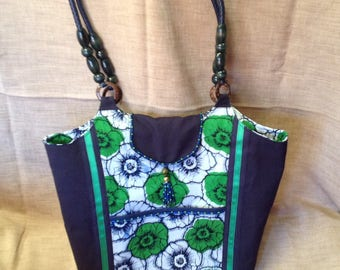 Navy, white and green canvas and African fabric tote bag.