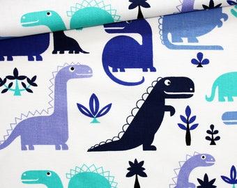 Tissu dinosaures, 100% coton imprimé 50 x 160 cm, dinosaures bleus sur fond blanc