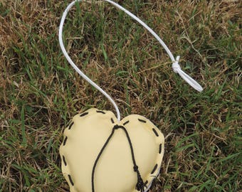 heart yellow leather with white suede link