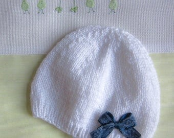"1 month baby bonnet/hat ""white and blue bow"" hand made knit"