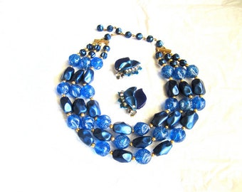 50-60s Blue Sparkle Necklace Tri Strand Beads, Earrings Sold Separately