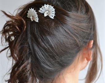 Set 2 wedding headband. Hair comb stick - pin crystals bridal range. Bohemian, fairytale, romantic shiny silver