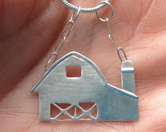 Sterling Silver Barn Necklace