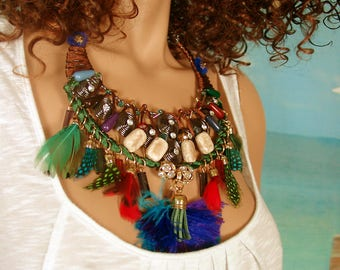 Large colorful Malonia bib necklace