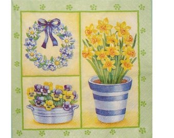 Set of 3 paper napkins PLA070 Pot, planter and wreath