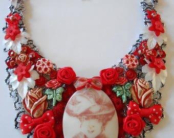 1 beautiful red vintage bib necklace.