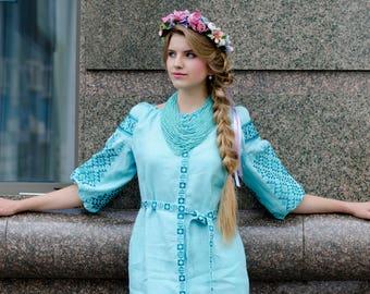 Linen Embroidered Dress Vyshyvanka Ukrainian Vyshyvanka Dress Women dress