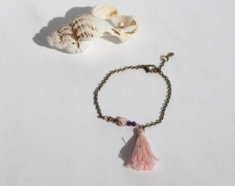 Bracelet Chaine et Pompon Rose Pâle