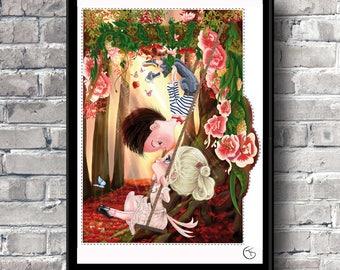 "Valentine gifts  Fine art print Pop surrealism ""Madeline and Antonin"" Illustration art Kids room Home decor"