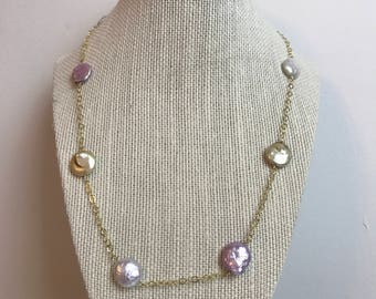 Handcrafted 14 K Gold Filled Chain with 8 artificial pearls